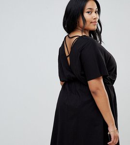 Read more about Asos design curve cross back smock dress in slub - black