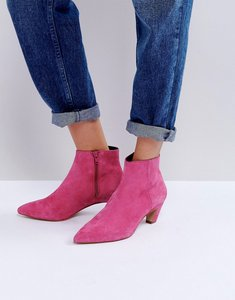 Read more about Asos reanne suede kitten heeled boots - pink suede
