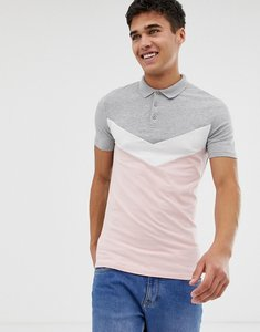Read more about Asos design muscle polo shirt with chevron cut and sew panel in grey - grey marl pink