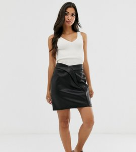Read more about Asos petite textured tulip mini skirt in leather look - black