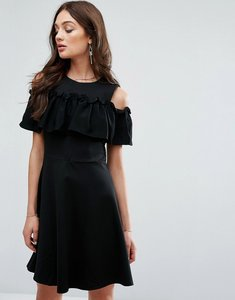 Read more about Y a s frill detail cold shoulder dress - black