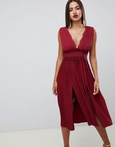 Read more about Asos design premium lace insert pleated midi dress - oxblood