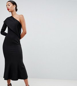 Read more about Asos design tall one shoulder fit and flare midi dress - black