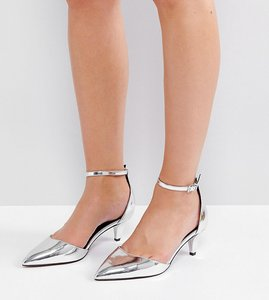 Read more about Asos soda pop wide fit kitten heels - silver