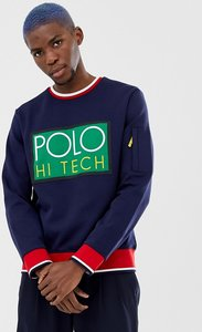 200a37512 Read more about Polo ralph lauren hi tech capsule box logo sweatshirt  tipped trim in navy