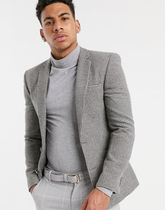 Read more about Asos wedding super skinny suit jacket in grey houndstooth - grey