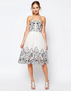 Read more about Asos salon bandeau lace floral midi dress in organza - cream