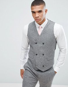 Read more about Asos wedding skinny suit waistcoat in 100 silk textured grey - light grey