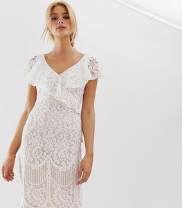 Read more about City goddess tall lace pencil dress with frill overlay - white