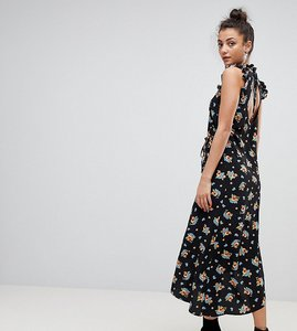 Read more about Asos tall maxi tea dress with cut out back detail in floral print - multi