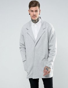 Read more about Asos oversized super longline jersey duster coat in grey marl - grey marl