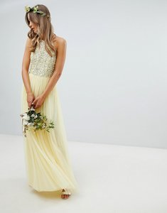 Read more about Maya halterneck delicate sequin detail tulle maxi dress in lemon