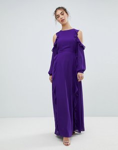 Read more about Glamorous cold shoulder frill dress - purple