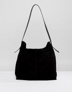 Read more about Asos suede contrast shoulder bag - black