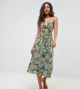 Read more about Asos design tall midi sundress with tie front in palm print - multi