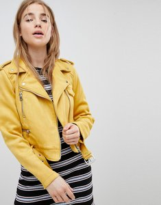 Read more about Pimkie suedette biker jacket - yellow