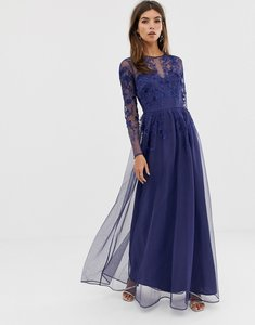 Read more about Asos design long sleeve maxi dress in embroidered mesh