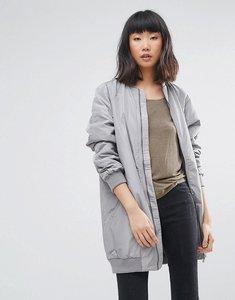 Read more about Moss copenhagen longline bomber jacket - grey