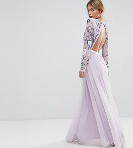 Read more about Frock and frill embroided maxi dress with tulle skirt and open back - multi mink