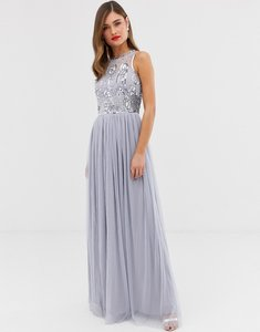 Read more about Frock frill high neck maxi dress with satin belt embellished detail