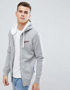 Read more about Jack jones originals zip through hoodie with borg hood - light grey melange