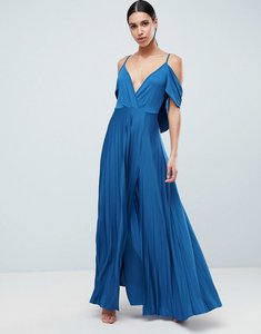 Read more about Asos design cold shoulder cowl back pleated maxi dress - blue