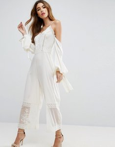 Read more about Asos jumpsuit with cold shoulder and premium embroidery - white