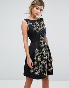 Read more about Oasis embroidered skater dress - black