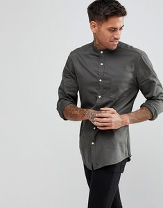 Read more about Asos design slim stretch denim shirt with grandad collar - green