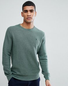 Read more about Polo ralph lauren texture pima cotton knit jumper crew neck polo player in green marl - green heathe