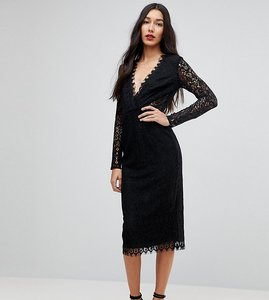Read more about Asos tall long sleeve lace midi pencil dress - black