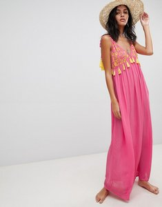 Read more about Asos design embroidered pom pom trim halter maxi beach dress - pink yellow