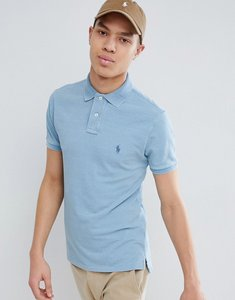 Read more about Polo ralph lauren slim fit pique polo with player logo in washed light indigo - light indigo