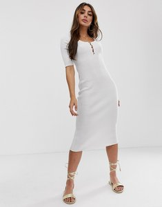 Read more about Asos design short sleeve scoop neck midi dress with button detail