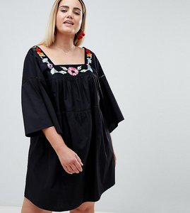 Read more about Asos design curve lace insert smock mini sundress with embroidery - black