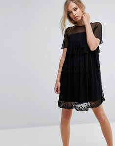 Read more about Lost ink smock dress with stars - black
