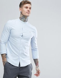 Read more about Farah brewer slim fit grandad collar oxford shirt in blue - 468sky blue