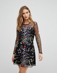 Read more about Rd koko long sleeve mesh overlay dress with floral embroidery - black