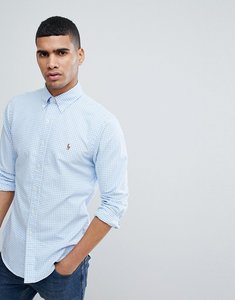 Read more about Polo ralph lauren gingham slim fit oxford shirt polo player in blue - blue