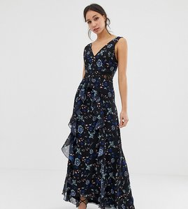 Read more about Little mistress tall floral lace plunge front maxi dress in black multi