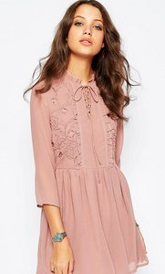 Read more about Glamorous tall lace up front skater dress with ruffles - pink