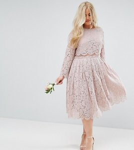 Read more about Asos curve wedding lace long sleeve midi prom dress - mink