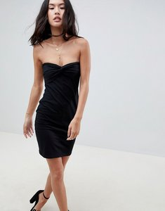 Read more about Asos mini twist front bandeau dress - black