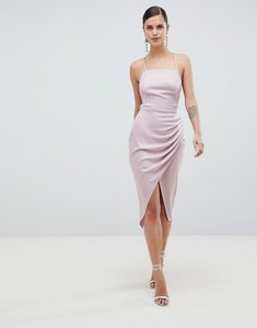 Read more about Asos design satin ruched side midi dress with strappy back - mink