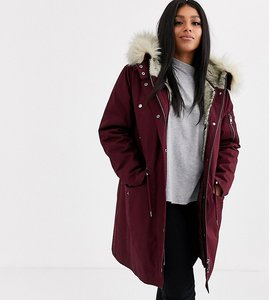 Read more about Asos design curve parka with detachable faux fur liner in oxblood