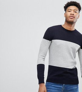 Read more about French connection tall cotton panel crew neck jumper - navy
