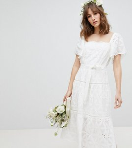Read more about Stevie may exclusive floral embroidered smock midi dress - white