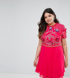 Read more about Frock and frill plus embellished skater dress - pink