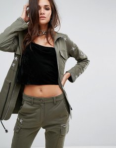 Read more about Religion military jacket with metallic details - khaki