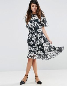 Read more about Asos ruffle midi tea dress in mono floral print - multi